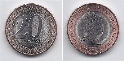 ANGOLA 20 KWANZAS 2014 KM # 111 ALMOST UNCIRCULATED LARGE BIMETALLIC COIN