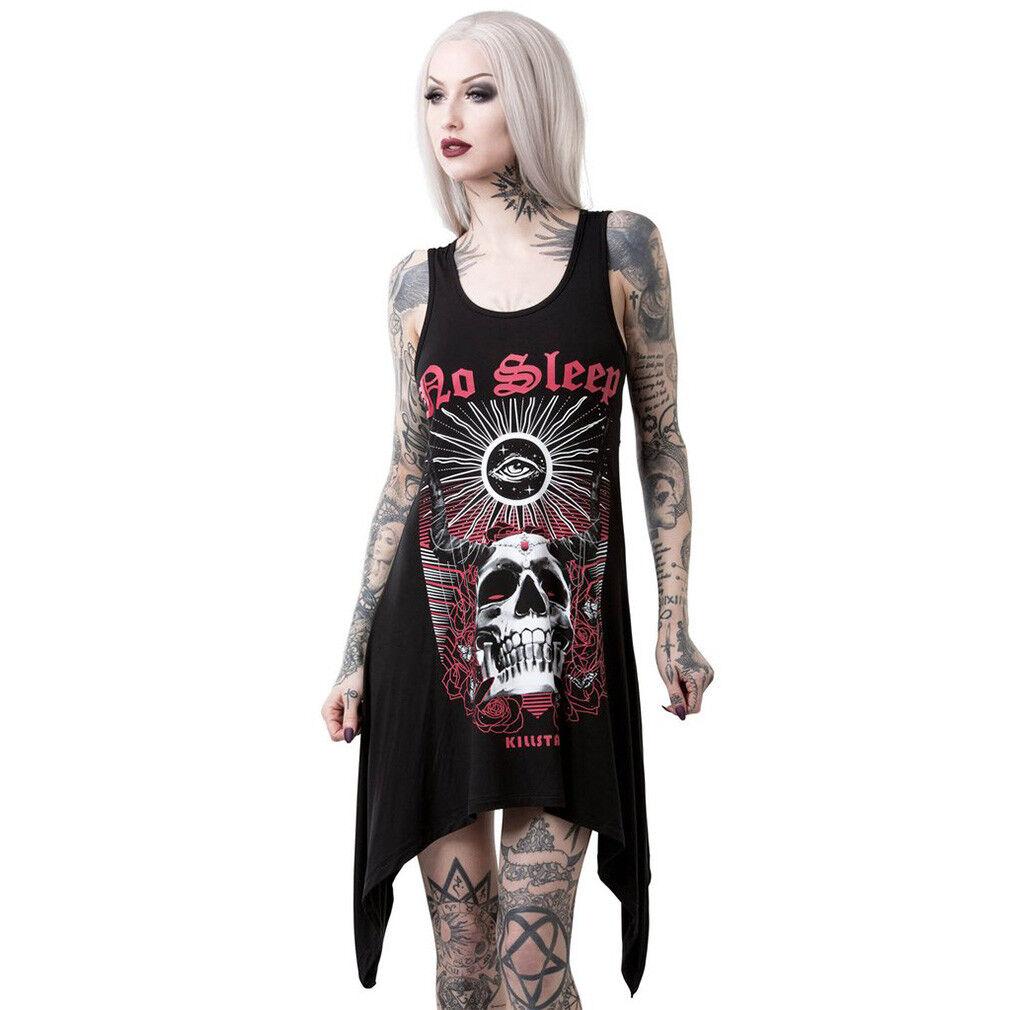 Killstar Gothic Goth Punk Okkult Tank Kleid No Sleep Decadence Vest Devil Teufel
