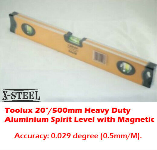 "Toolux 20""/500mm Heavy Duty Aluminium Spirit Level with Strong Magnetic"