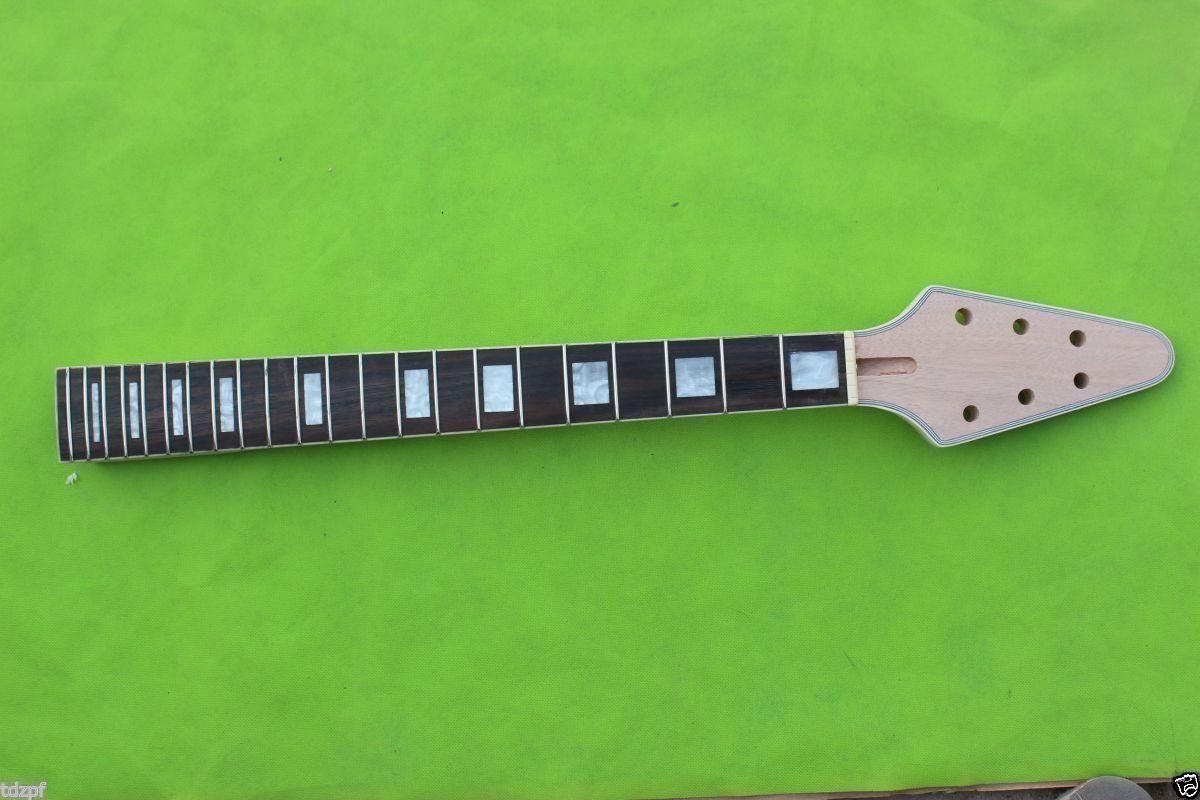 22 22 22 Guitarra Traste cuello caoba diapasón de palo de rosadodo cuello Flying V guitarra de reemplazo  en stock