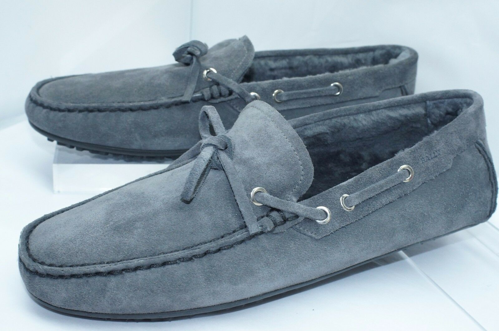 Scarpe casual da uomo  New Bally uomos Shoes Vedium Fur Loafers Size 10 Gray Drivers Suede