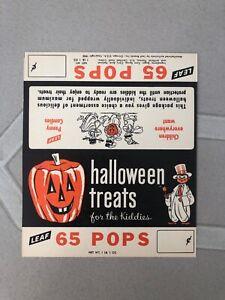 Vintage Halloween Leaf Treat Pops Header Card, 1952