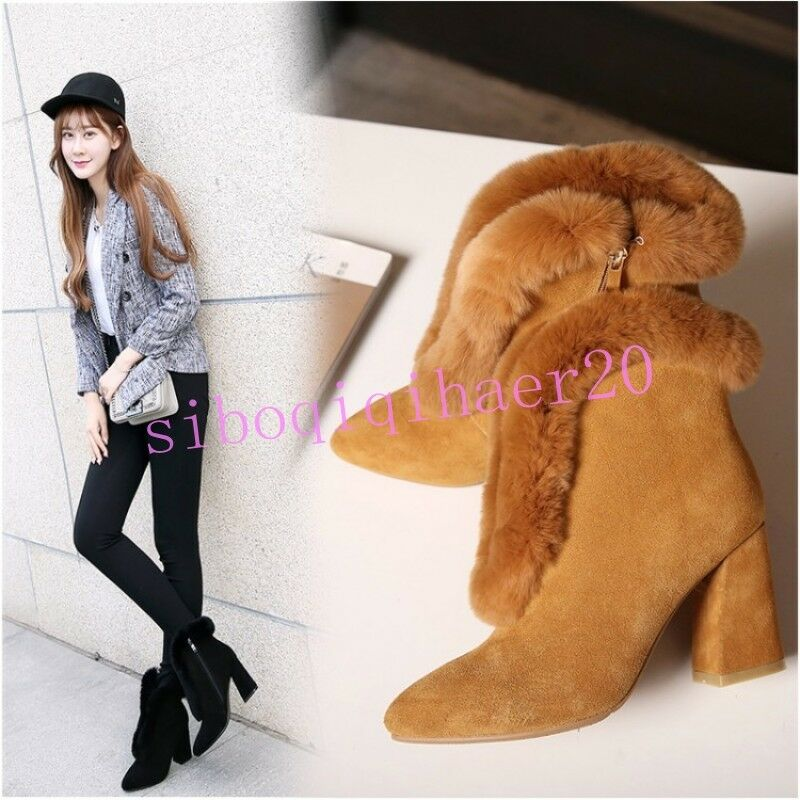 Women's Snow Shoes Fur Furry Ankle Boots Faux Suede Pointy Side Zip Velvet Lined