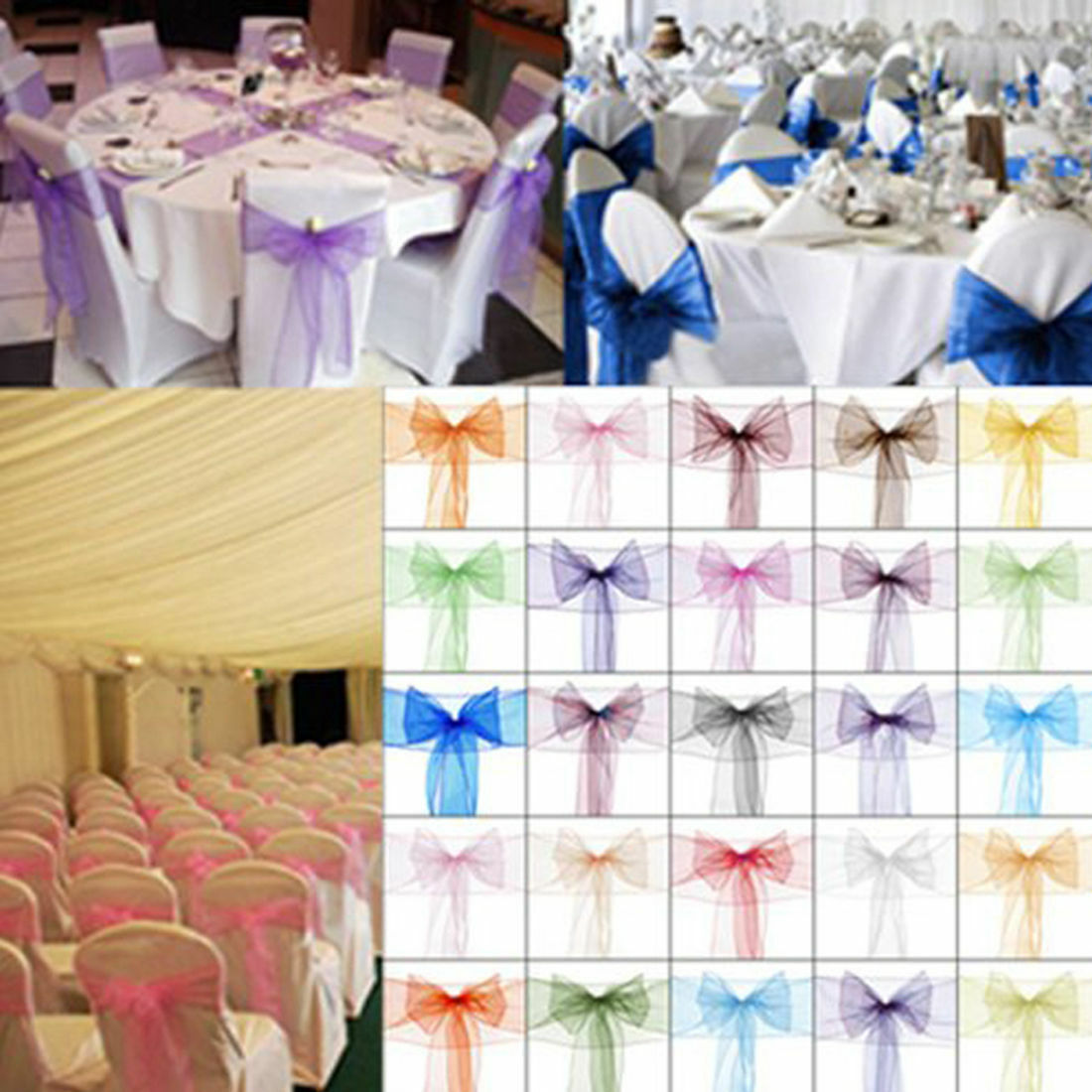 150 Organza Chair Cover Sash Bows 8 x108  30 Farbes Extra Wide Wedding SALE