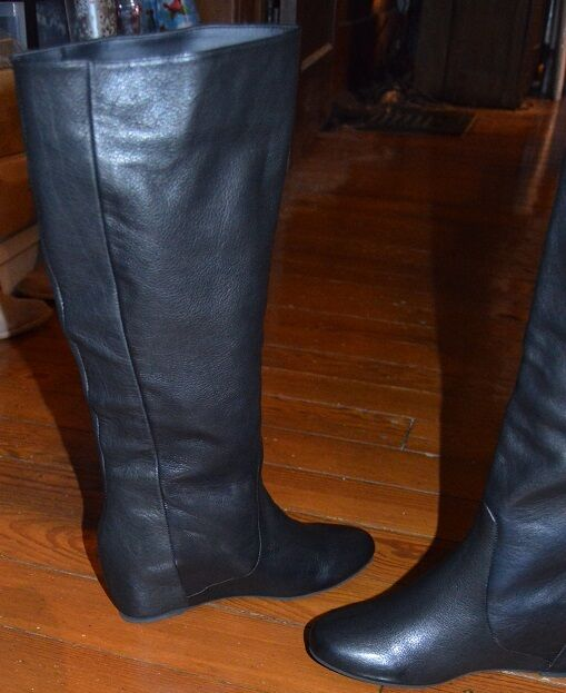 NWOB MOJO MOXY ON GRIMM LEATHER PULL ON MOXY HIDDEN WEDGE KNEE HIGH Stiefel SZ 6.5M 9M b92429