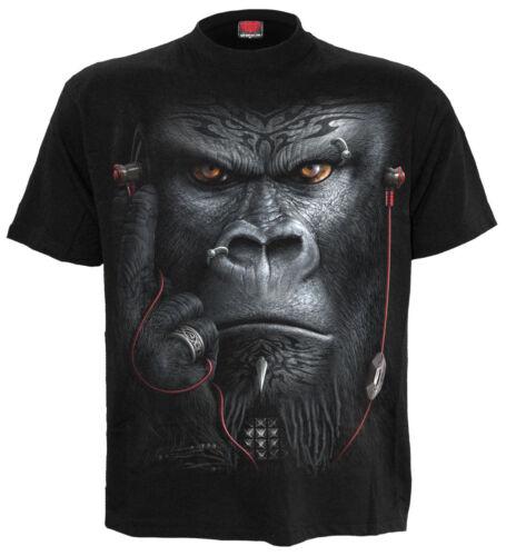 DEVOLUTION FRONT PRINT BLACK T-Shirt//Gorilla//Music////Monkey//Plus size//XXXXL//Big