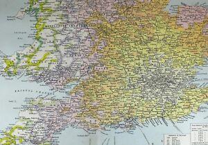 Carte Bretagne Distance.Details Sur 1921 Grand Carte Bretagne Chemin De Fer Temps Distance Zones Somerset London