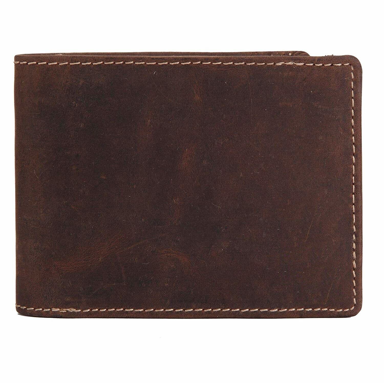 Crazy Horse Genuine Leather Men's Bifold Wallet with RFID Protection, Brown