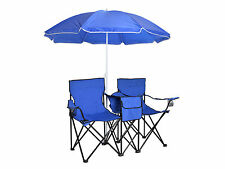Fold Up Picnic Double Chair W/ Umbrella Table Cooler Folding Camping Beach Blue