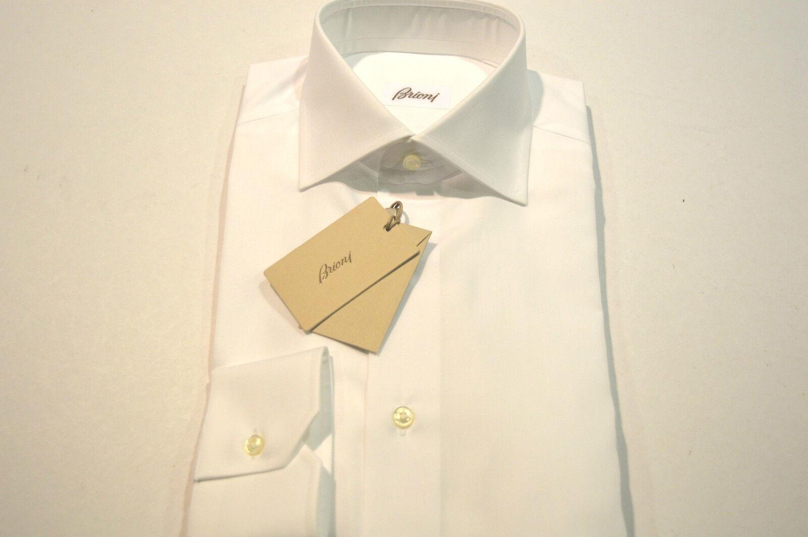 NEW  BRIONI Dress SHIRT 100% Cotton Size 17.75 Us 45 Eu  White  (Store Code AP9)
