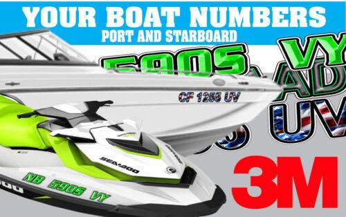 OUTLINE BLUE Custom Boat Registration Number Decals Vinyl Lettering Stickers