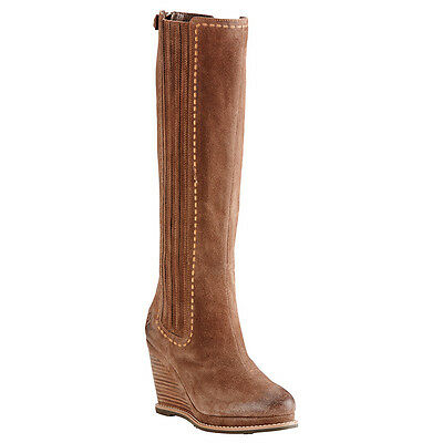 Ariat Ladies Ryman Moon Rock Brown 3.5in wedge heel Zip back Knee high 10018614