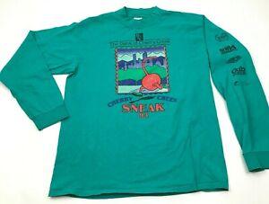 VINTAGE Cherry Creek Sneak Shirt Mens Size Large Mint Green Mock Long Sleeve USA