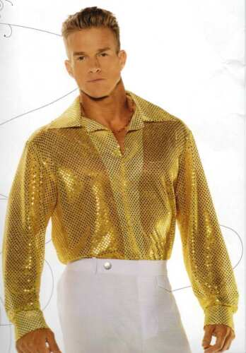 70/'S DISCO SEQUIN COSTUME SHIRT DANCE FEVER SATURDAY NIGHT PIMP GOLD BLACK RED