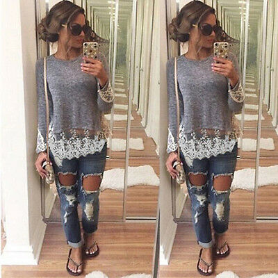 New Fashion Women Summer Long Sleeve Lace Blouse Casual Tank Vest Tops T-Shirt