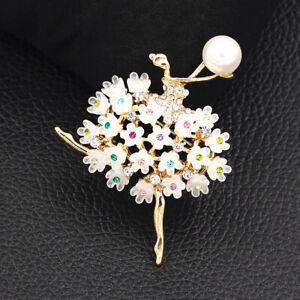 Women-039-s-Resin-Crystal-Flower-Ballerina-Girl-Charm-Betsey-Johnson-Brooch-Pin