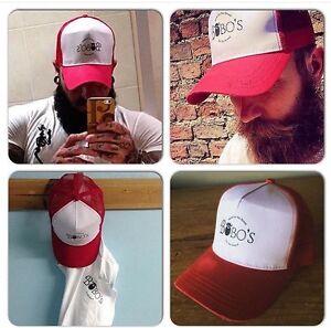 b8be23b86f5 Image is loading A-Bobos-Beard-Company-Red-Trucker-Baseball-Cap-