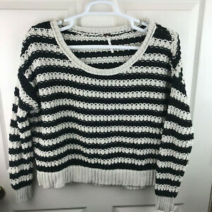 Details about Free People Beach Pullover Striped Knit Sweater Black Cream Size Small Oversized