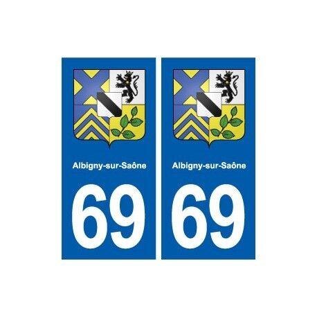 69 Albigny-sur-Saône blason autocollant plaque stickers ville arrondis