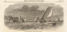 1862 ANTIQUE PRINT- WHITE FISH FISHERIES-FISHING BOATS OFF DYSART