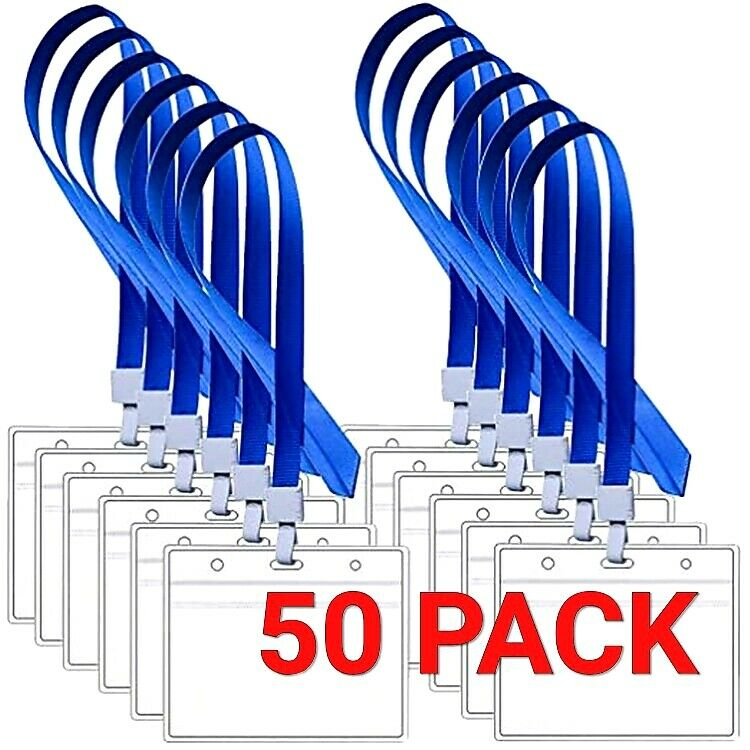 50 PACK ID Card Holder Clear Plastic Badge Resealable Waterproof Business Case