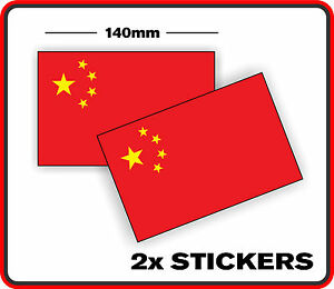 CHINESE COUNTRY CHINA FLAG STICKER DECAL x2 BUMPER CAR WINDOW VINYL SCRAPBOOK