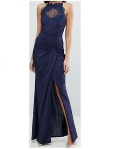 d9fb52816a Lipsy Navy High Neck Maxi Dress With Metallic Lace Trim - BNWT ...