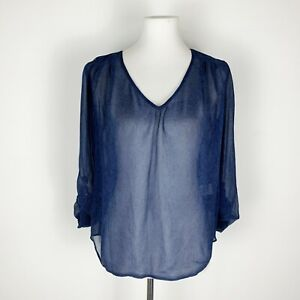 Joie-Size-S-Small-Silk-Blouse-Navy-Blue-Sheer-Snake-Skin-Print-Loose-Shirt-Top