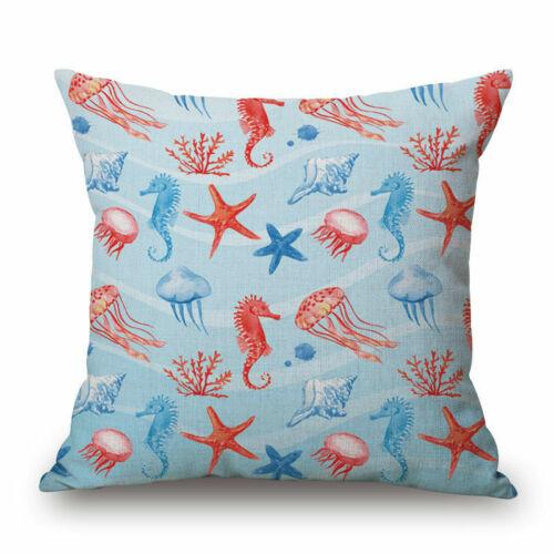 Marine Life Cotton Linen Pillow Case Sofa Bed Home Decor Cushion Cover XMAS Gift