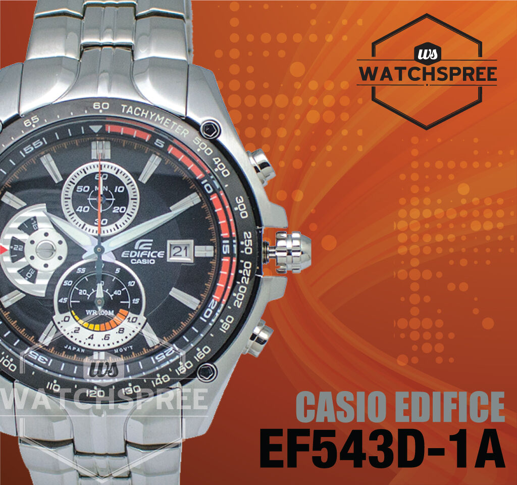 Casio Edifice Black Dial Tachymeter Watch Ef 543d 1a Ef543d Ebay Stainless Silver Chrono Men Norton Secured Powered By Verisign