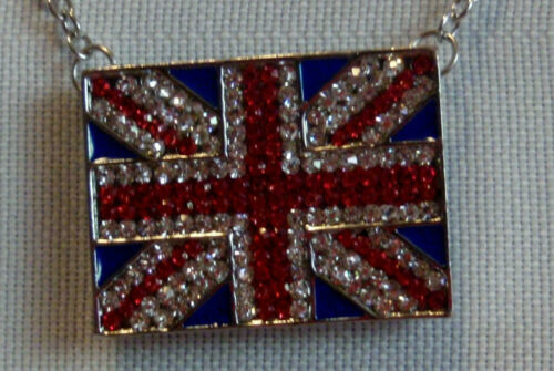 NEW! NECKLACE Biker Sparkle British Flag with silver tone Chain