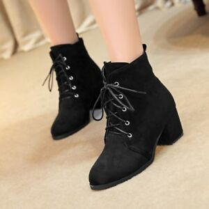 042b81e40844 Ladies Casual Lace Up Synthetic Ankle Boots Girls Military Block ...