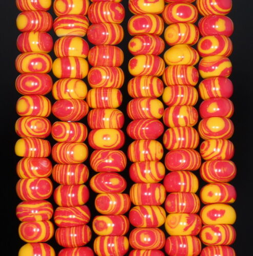 8X5MM RED YELLOW MATRIX TURQUOISE GEMSTONE RONDELLE LOOSE BEADS 15.5/""