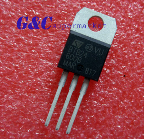 5PCS IC BTB24 BTB24-600BR TRIAC 600V 25A TO-220 ST NEW GOOD QUALITY T1