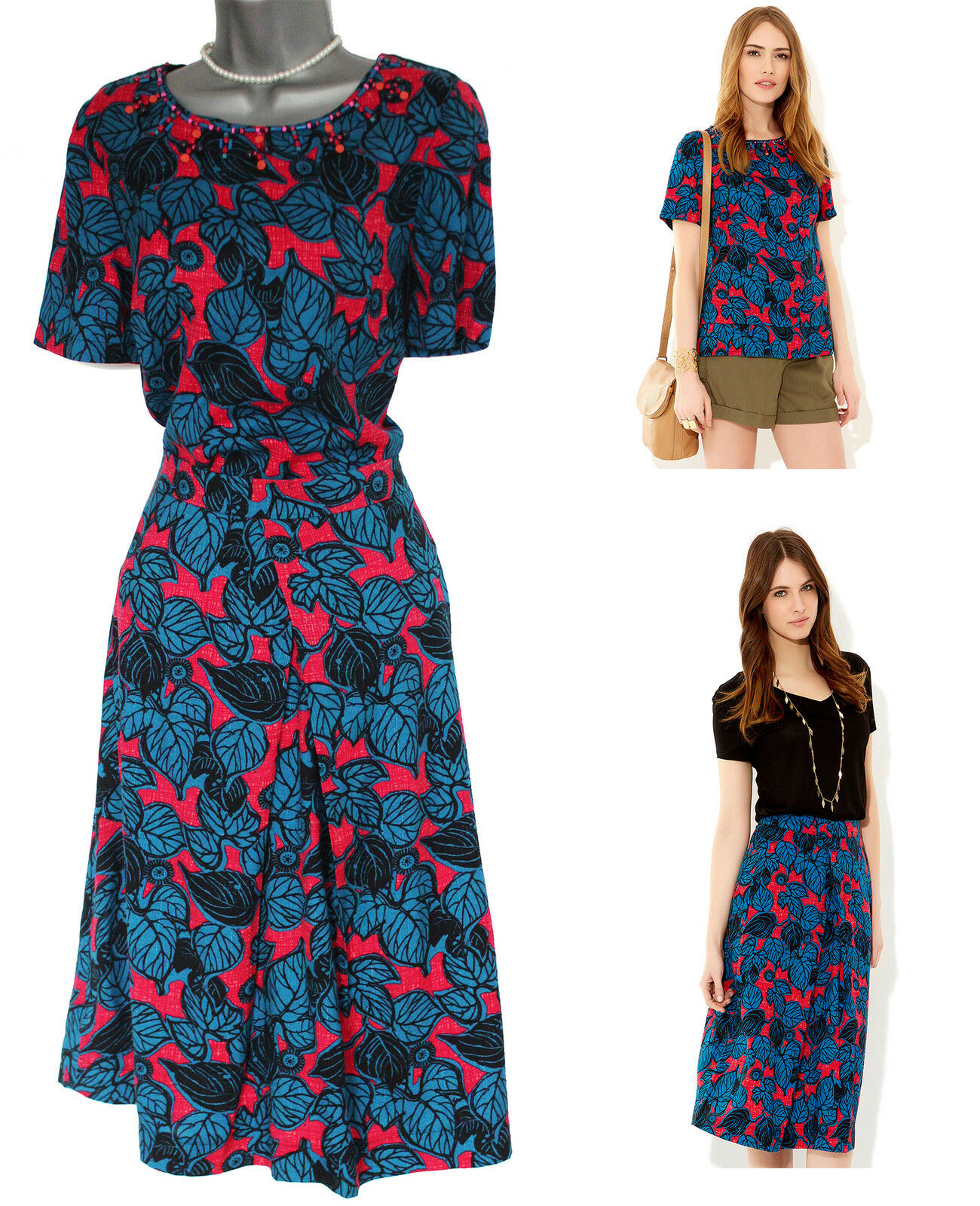 MONSOON Hot Red and bluee Estella Floral Print Skirt & Top Suit EU40
