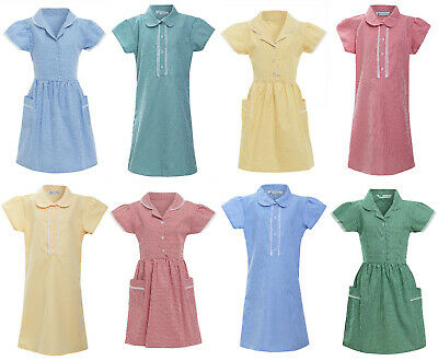 M/&S Marks /& Spencer ~Girls Gingham School Dress Cotton Uniform ~GREEN ~ 9 Years