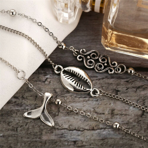 New Gold Silver Anklet Butterfly Multilayer Ankle Bracelet Beach Women Jewelry