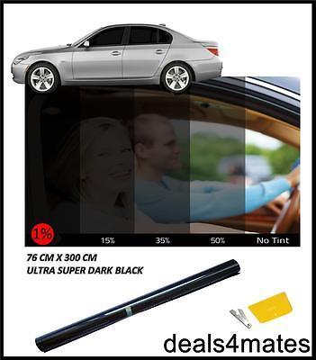 Auto Van Window Tint Film Colorazione Ultra Super Scuro Nero 1% 76cm X 3m Kit Fai Da Te- I Prodotti Sono Venduti Senza Limitazioni
