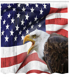 Image Is Loading American Flag Shower Curtain Bald Eagle Icon Print