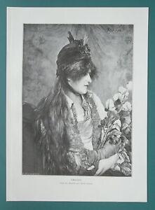 YOU-MAIDEN-Pensive-Holds-Bouquet-of-Irises-1892-Victorian-Era-Print
