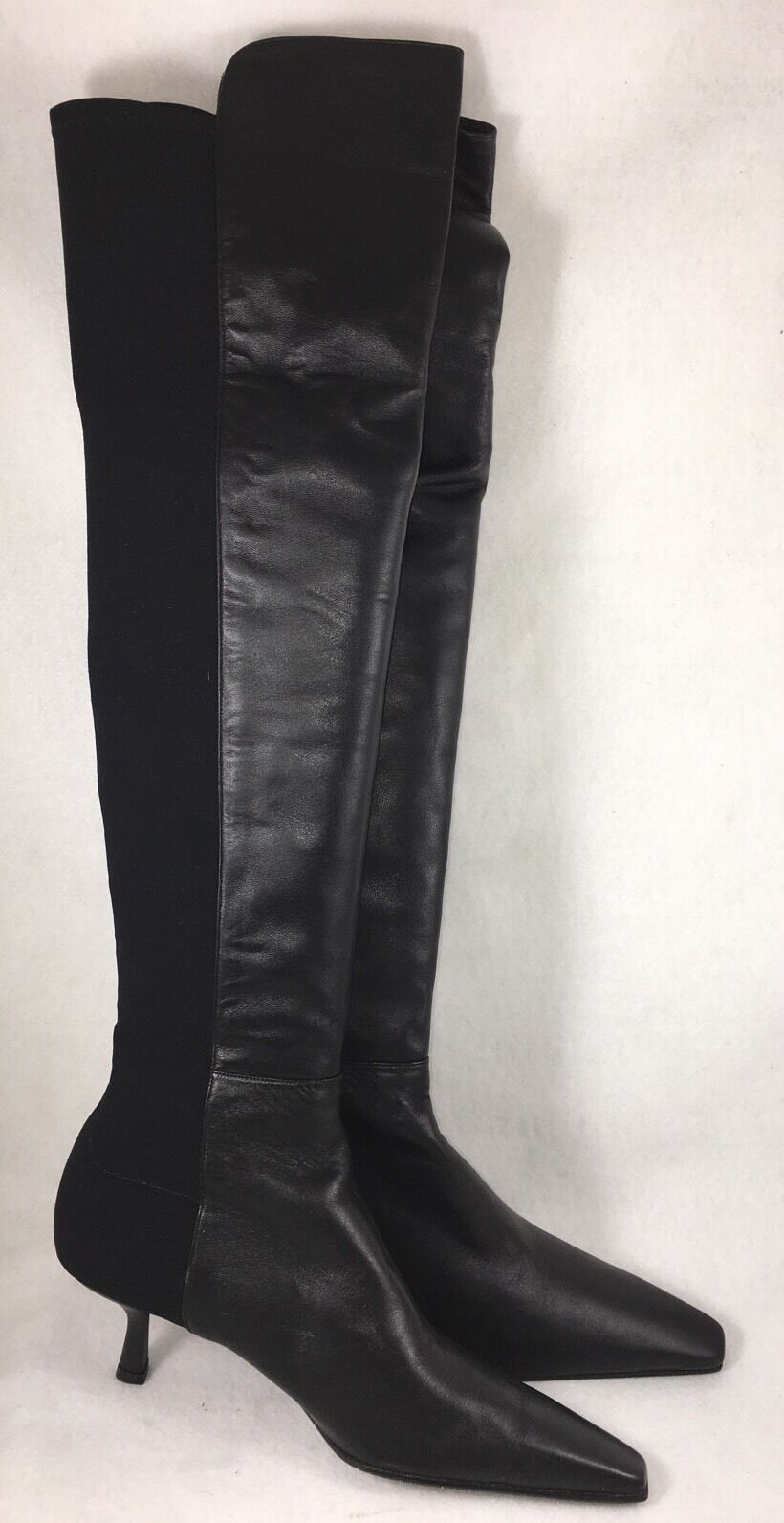 Stuart Weitzman Womens 5050 Over-the-knee Boot Black Leather & Stretch 2.5