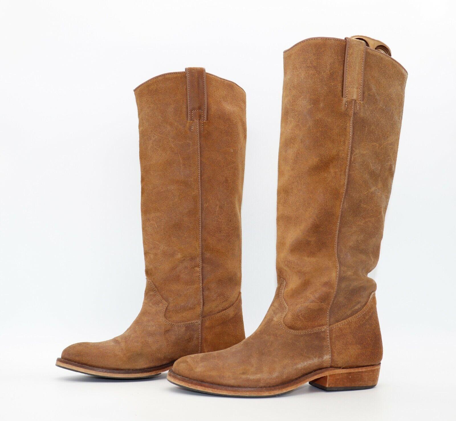 Women's Vintage COWBOY BIKER Low Heel Knee High Tan 100% Leather Boots UK6 EUR39