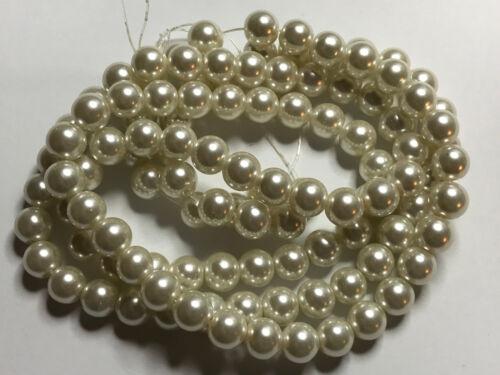 Vidrio despierta perlas perlas Woll blanco brillante 8 mm 100 trozo joyas bricolaje g27