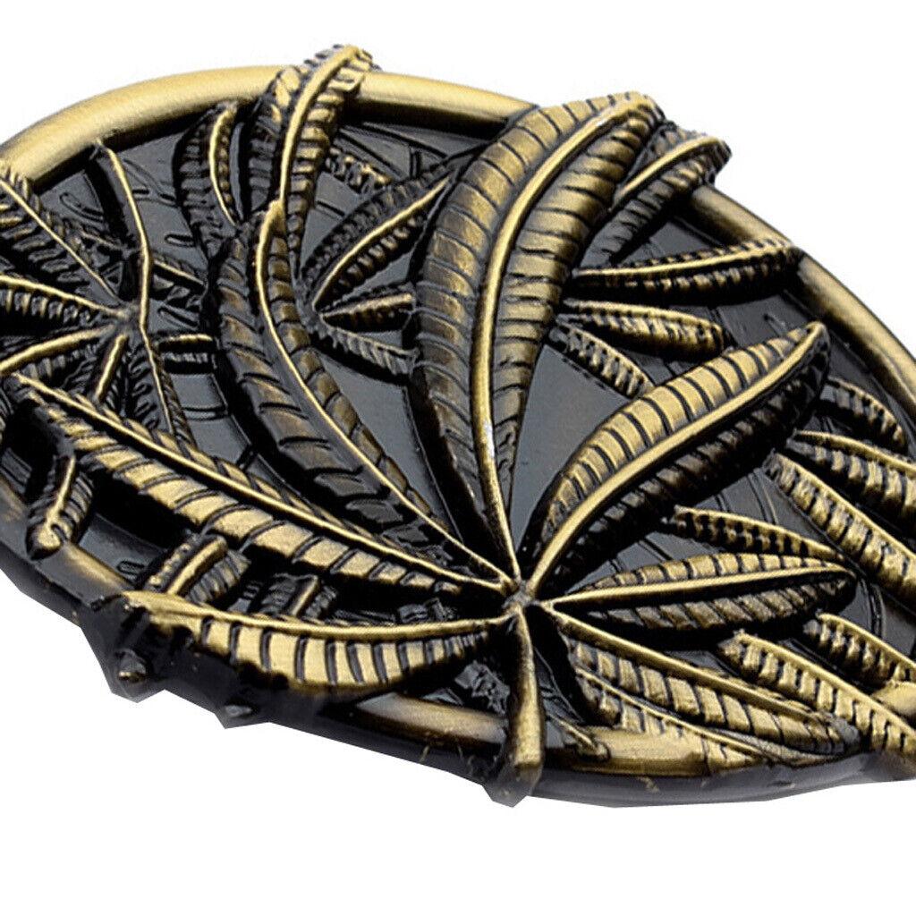 Fashion Belt Buckle Alloy Floral Carved Leaf Oval Bronze Unisex
