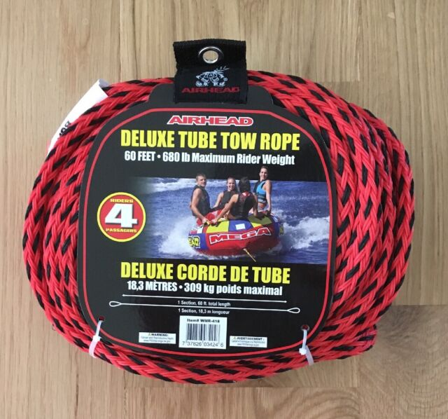 Airhead Red 4 Rider Deluxe Tube Tow Rope 60 Feet 680lb Weight And Quick Connect For Sale Online