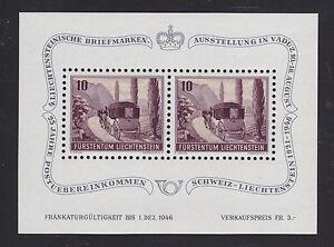 Liechtenstein Sc B18 MNH. 1946 Post Coach, Souvenir Sheet of 2, VF