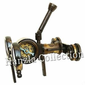Antique-Maritime-Nautical-Solid-Brass-Folding-Binocular-Steampunk-With-Compass