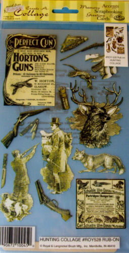 ROYAL LANGNICKEL Rub-Ons Your Choice NEW HUNTING or FISHING COLLAGE Vintage