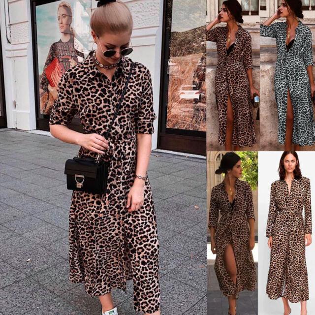 AU Women Leopard Print Long Sleeve Split Maxi Dress Evening Party Clubwear Dress
