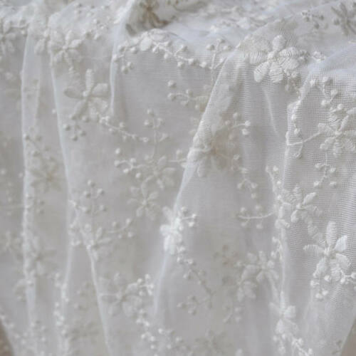 """1 yard Lace Fabric Ivory Tulle Cotton Small Floral Embroidery Wedding Dress 51/"""""""